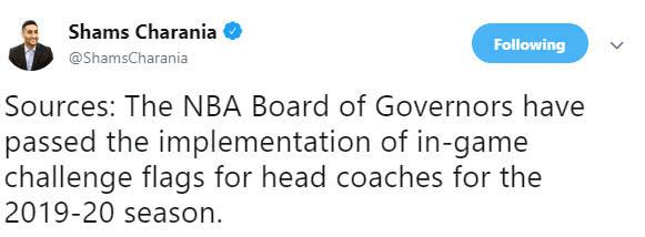 NBA通过教练挑战规则决议